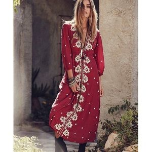 Free People | Embroidered fable midi dress